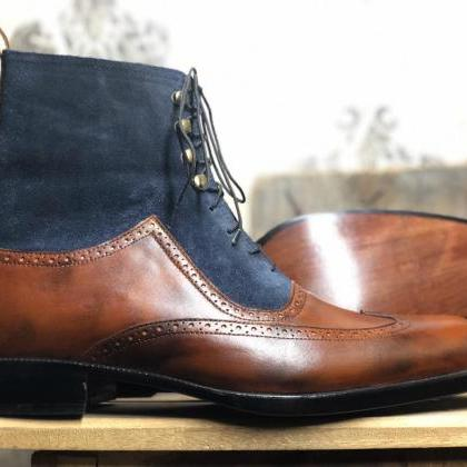 Men's Handmade Brown Blue Wing Tip ..