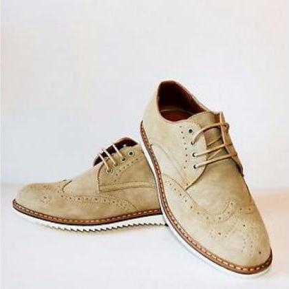 Men's Handmade Casual Shoes, Beige ..