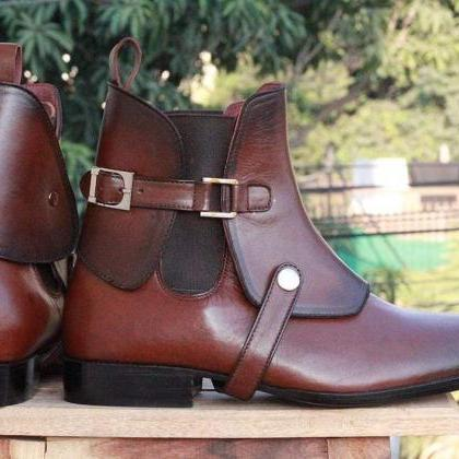 Handmade Mens Brown Leather Ankle H..