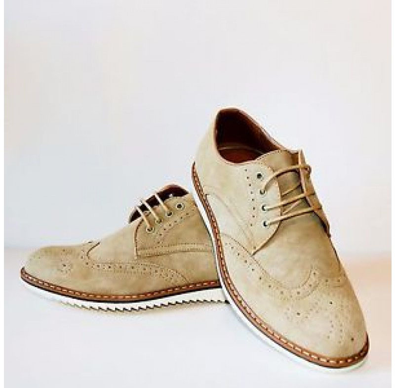 Men's Handmade Casual Shoes, Beige Suede Wing Tip Lace Up Casual Shoes