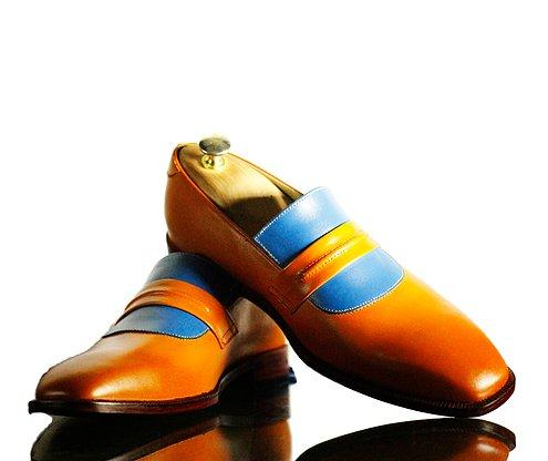 Men's Handmade Tan Blue Leather Shoes, Mens Leather Loafer Shoes, men loafers