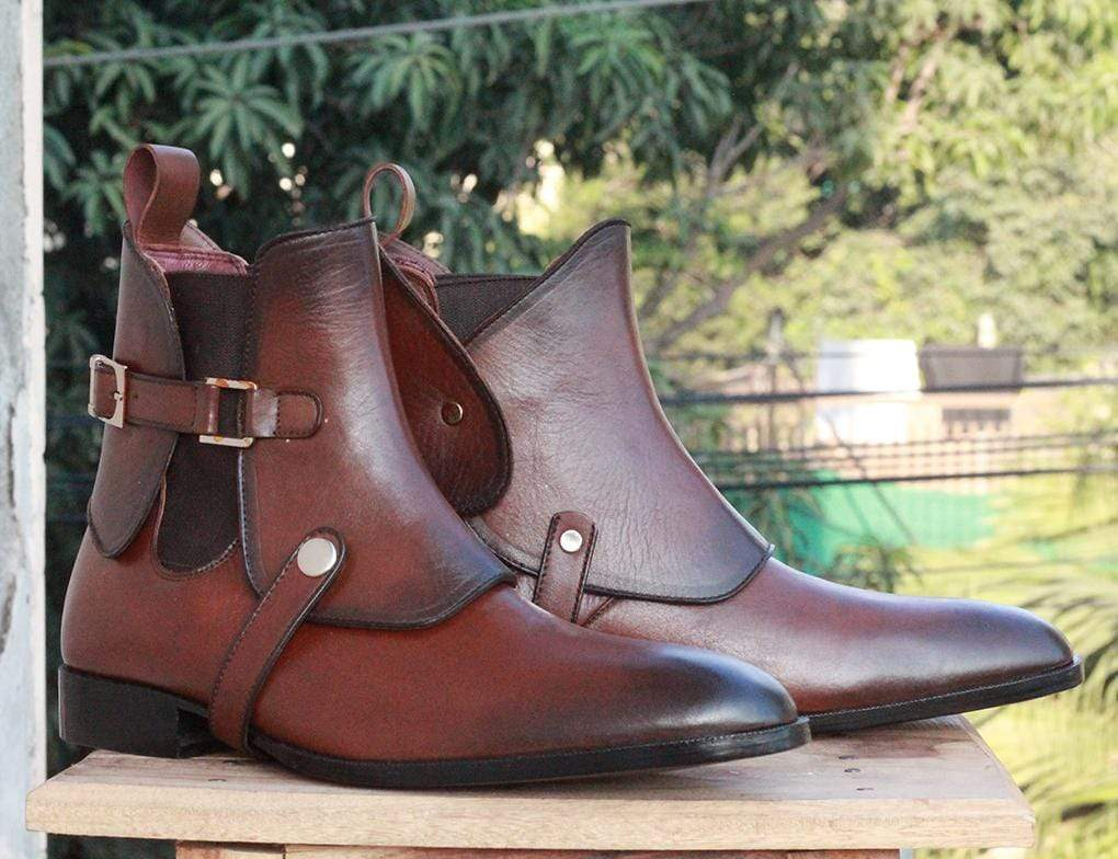 Handmade Mens Brown Leather Ankle High Boots, Men's Chelsea Saddle Formal Boots, men boots