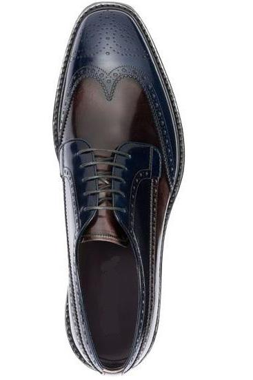 Men's Handmade Navy & Brown Color Leather Shoes, Wing Tip Brogue Lace Up Dress Formal Shoes