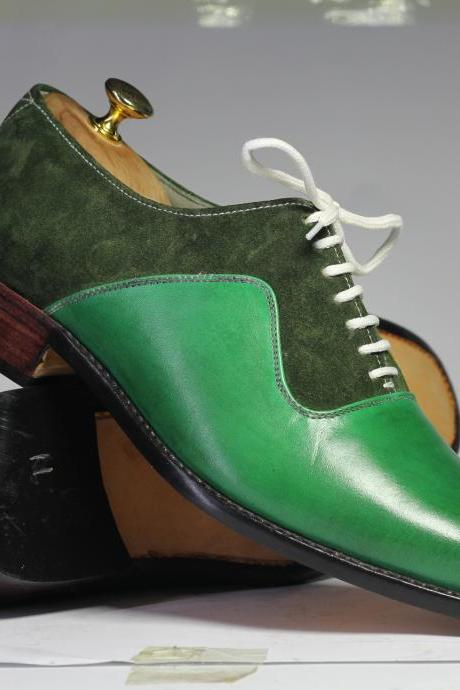 Men's Handmade Green Lace Up Shoes, Men's Decent Leather & Suede Shoes