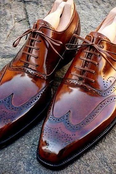 Men's Elegant Handmade Wing Tip Brogue Brown Shoes, Men's Stylish Leather Shoes