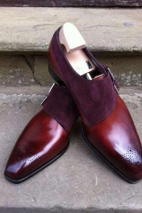 Men's Handmade Burgundy Two Tone Leather Suede Monk Buckle Shoes