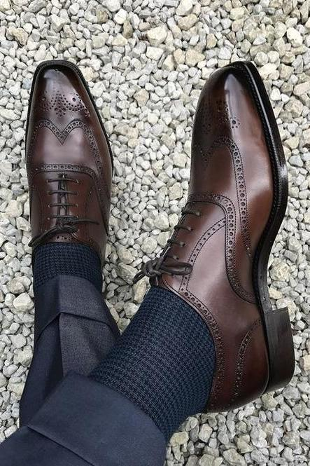 Men's Handmade Leather Dress Shoes, Mens Formal Shoes, Men Wingtip Brogue Brown Shoes