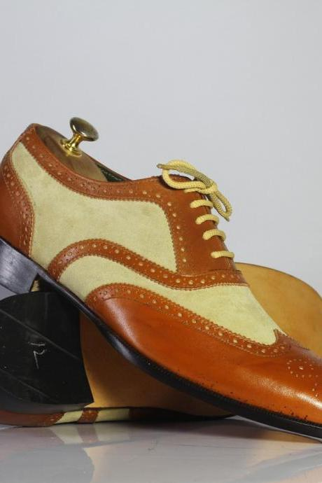 Men's Handmade Brown & Beige Wingtip Brogue Shoes, Men's Leather & Suede Shoes