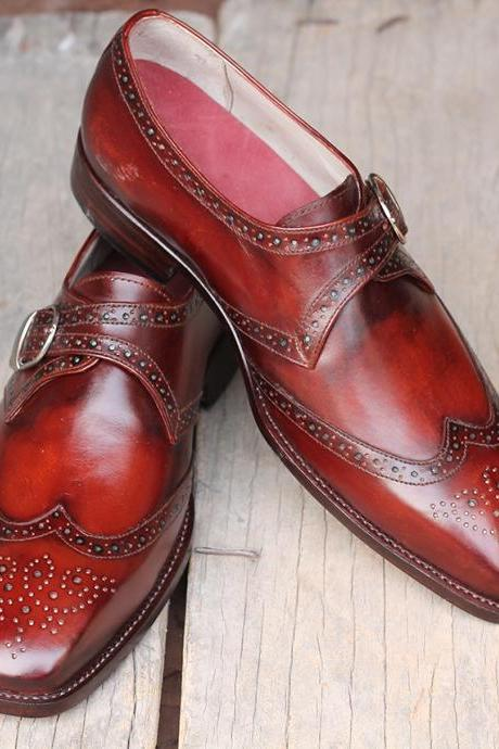 Men's Handmade Burgundy Leather Dress Shoes, Men's Monk Strap Wing Tip Shoes