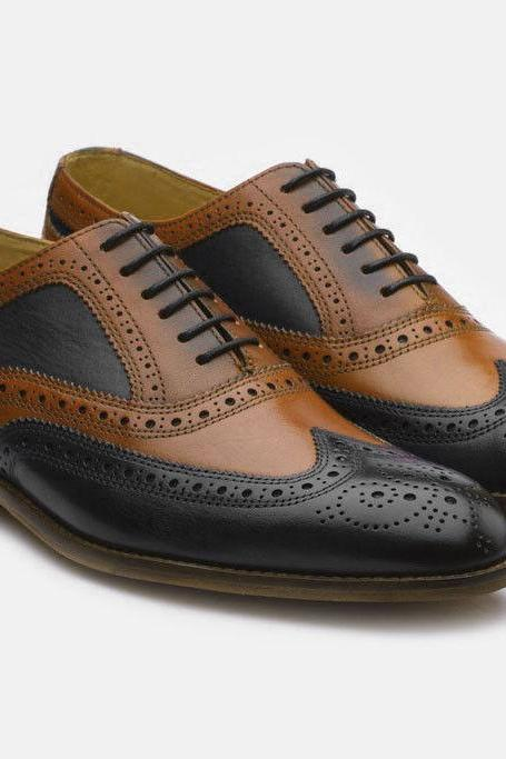 Men's Handmade Brown & Black Color Leather Shoes, Men's Wing Tip Brogue Lace Up Dress Formal Shoes