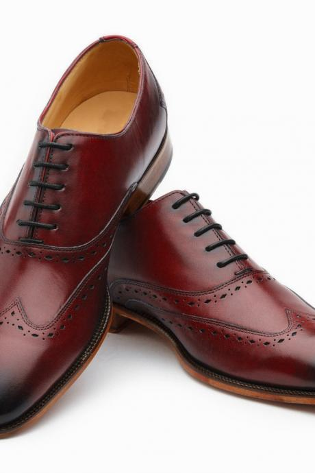 Men's Handmade Oxford Wingtip Maroon Leather Shoes, Men's Lace up Dress Shoe