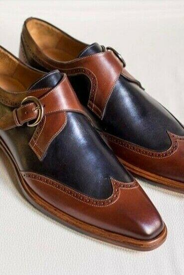 Men's Handmade Decent Wing Tip shoes, Men's Navy Blue Brown Formal Monk Shoes