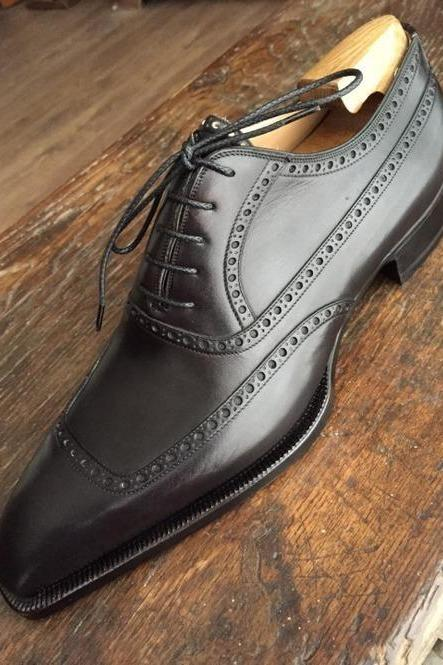 Men's Handmade Black Shoes, Men Black Brogue Leather Shoes