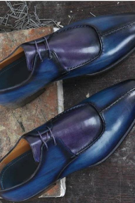 Men's Handmade Purple Blue Leather Shoes, Men's Split Toe Lace Up Designing Shoes