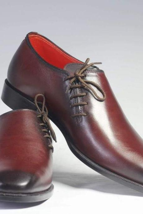 Men's Burgundy Leather Side Lace Up Shoes, Men's Formal Fashion Shoes