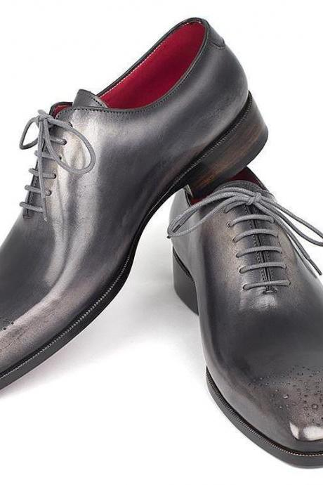 New Handmade Men's Gray Color Lace Up Leather Shoes, Men Dress Formal Brogue Shoes