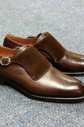 Handmade Men's Velvet & Leather Shoes Monk Strap Brown Brogue Formal Shoes