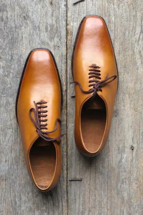 Men's Stylish Handmade Tan Color Shoes Men Leather Formal Shoes Men Dress Shoes