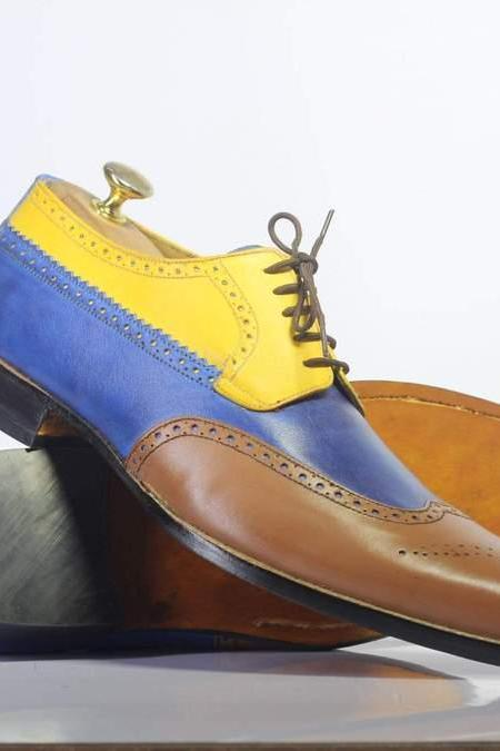 MEN'S MULTI COLOR HANDMADE WING TIP STYLISH LEATHER SHOES