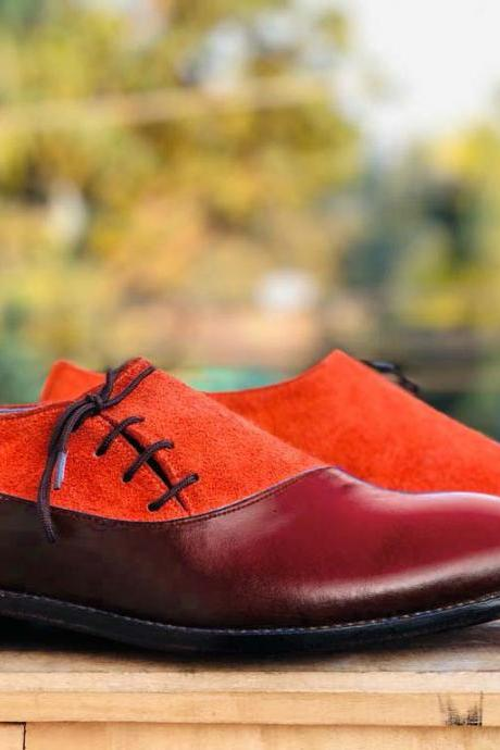 Men's Handmade Burgundy & Tan Shoes, Men's Side Lace Up Leather & Suede Shoes