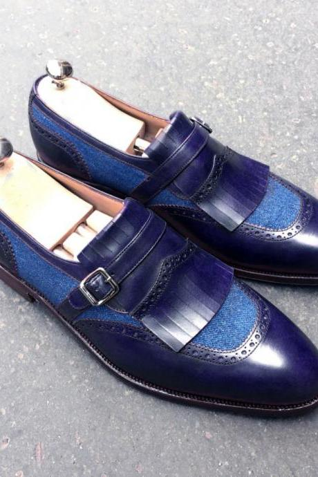 New Men's Handmade Leather & Tweed Oxford Blue Fringed & Buckle Fashion Shoes