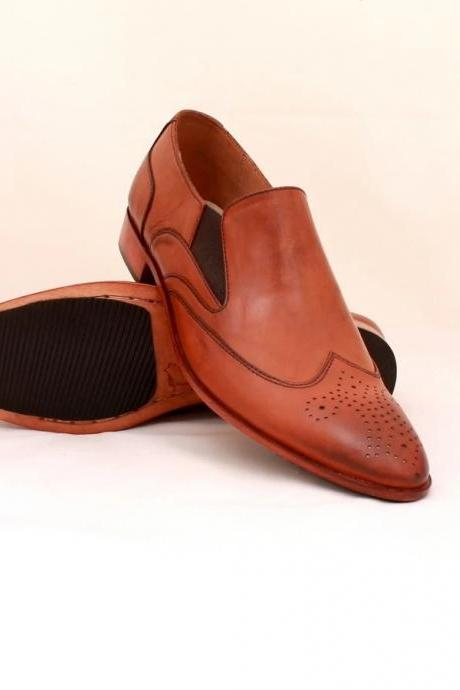 Men's Handmade Tan Brown Leather Loafers, Men Fashion Dress Shoes