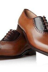 Men's Handmade Tan & Black Leather Lace up Brogue Shoes, Men's Stylish Formal Shoes
