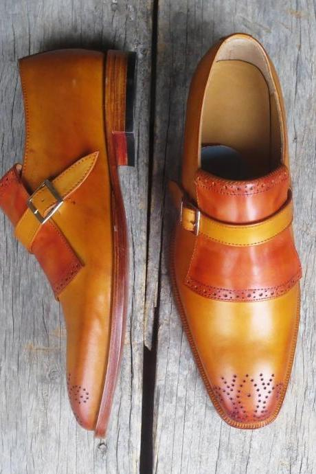 Men's Handmade Monk Strap Dress Shoes, Men Tan Brown Brogue Leather Formal Shoes