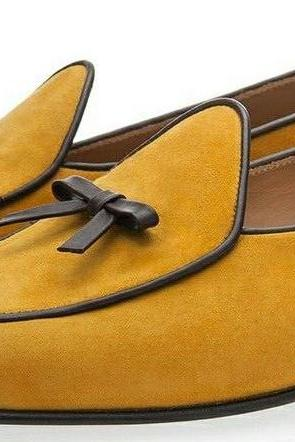 New Handmade Men's Tan Color Suede Shoes, Round Toe Slip On Dress Formal Belgian Tussle Loafers