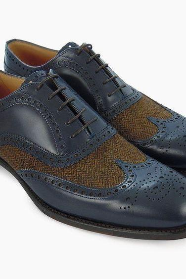 New Handmade Men's Blue Color Leather & Tweed Shoes, Wing Tip Brogue Dress Formal Lace Up Shoes