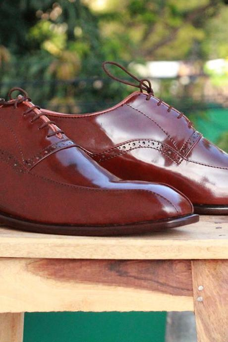 New Men's Brown Lace Up Leather Dress Shoes, Men Leather Stylish Shoes