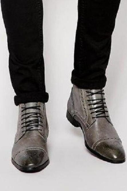 Stylish Handmade Men's Gray Leather Brogue Ankle High Boots, Men Lace Up Leather Boots