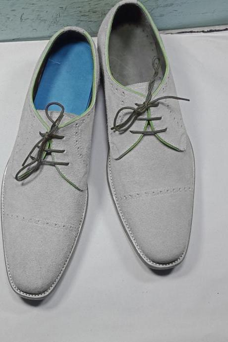 New Handmade Men's Grey Color Suede Shoes, Men Cap Toe Dress Formal Lace Up Shoes