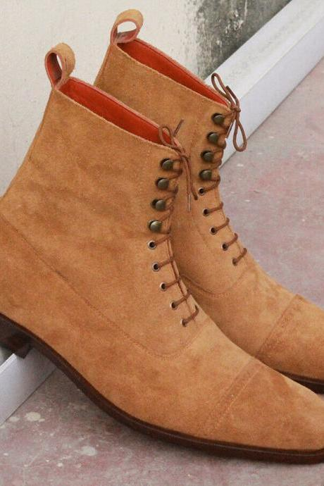 Men's Handmade Tan Color Suede Cap Toe Lace up Ankle Boots