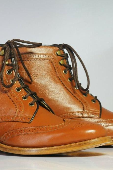 Men's Handmade Tan Wing Tip Brogue Leather Boots, Men Ankle High Lace Up Boots