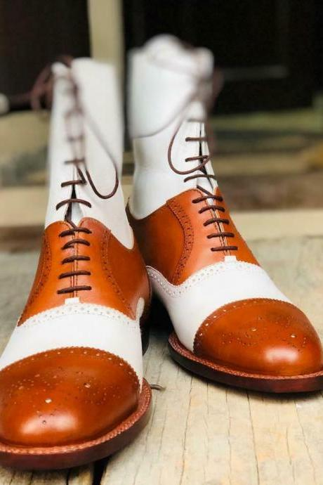 Men's Tan & White Handmade Boots, Men's Lace Up Wing Tip Brogue Leather Boots
