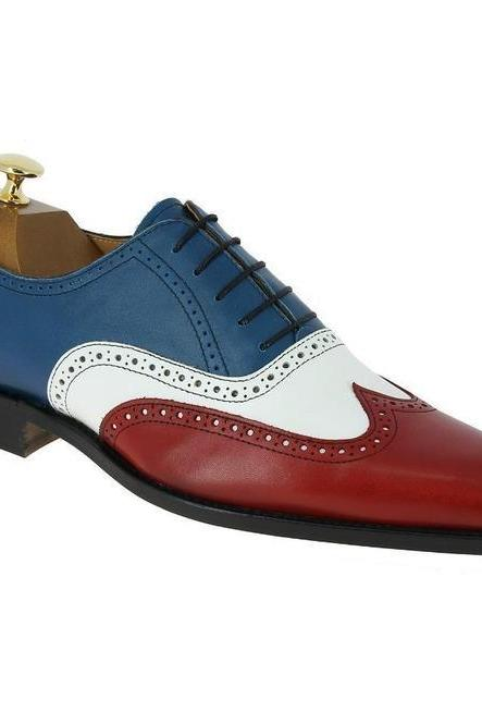 Men's Handmade Multi-Color Leather Shoes, Men Wing Tip Brogue Dress Formal Shoes