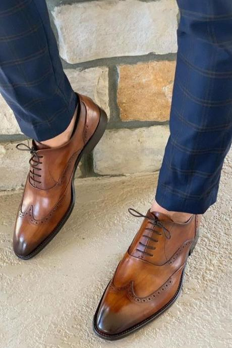 Men's Handmade Brown Leather Shoes, Wing Tip Lace Up Dress Formal Shoes