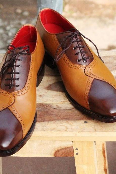 Men's Handmade Tan Brown Leather Designing Formal Shoes