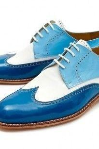 Men's Handmade Leather Wing Tip Shoes, Men's Two Tone Blue White Lace Up Stylish Shoes