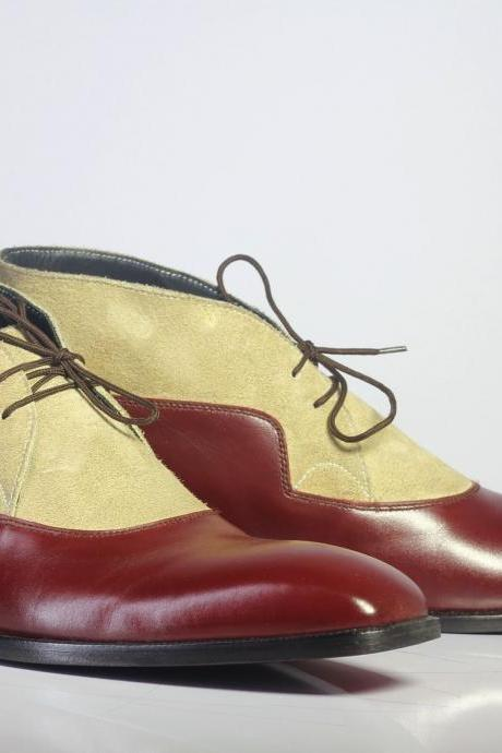 New Handmade Men's Burgundy & Beige Shoes, Men's Lace Up Ankle Leather Suede Shoes