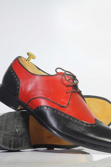 Men's Handmade Two Tone Wing Tip Lace Up Leather Shoes, Men's Red & Black Leather Shoes