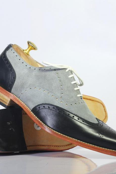 Men's Handmade Two Tone Wing Tip Lace Up Leather & Suede Shoes, Men's Black & Gray Shoes