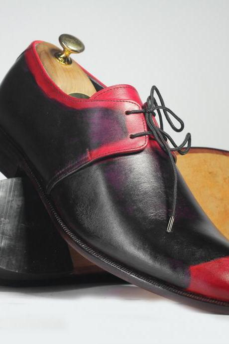 Handmade Men's Purple & Red Tone Lace Up Black Leather Shoes