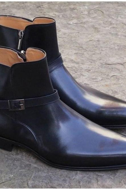 Men's Handmade Black Boots, Men's Jodhpurs Ankle High Boots