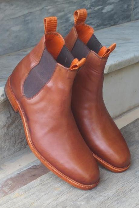 Men's Handmade Ankle High Leather Boots, Men's Stylish Brown Chelsea Boots