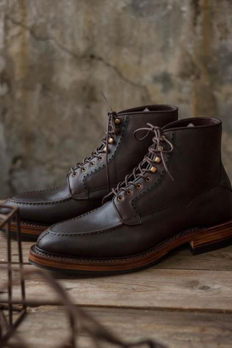 Men's Handmade Ankle High Leather Boots, Men's Dark Brown Split Toe lace Up Dress Boots