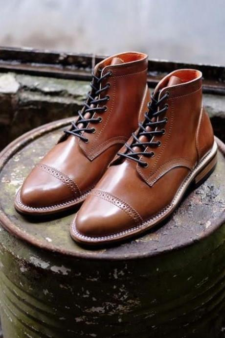 Men's Handmade Ankle High Leather Boots, Men's Brown Cap Toe Brogue Lace Up Boots
