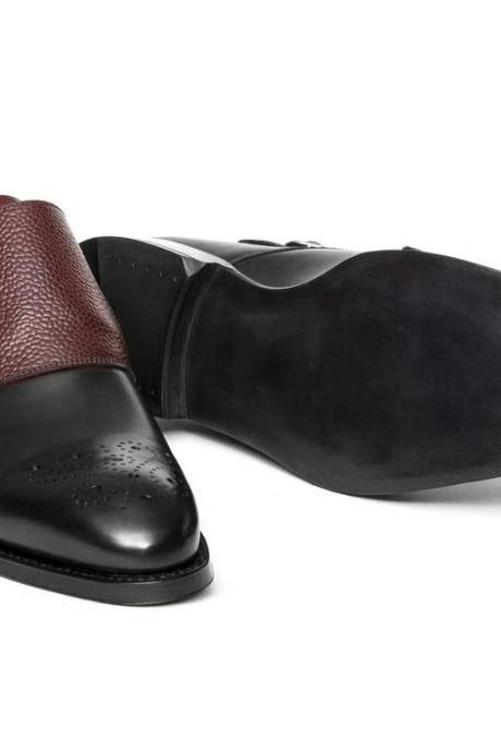 Men's Handmade Black & Maroon Monk Leather Shoes, Men's Two-Tone Formal Shoes