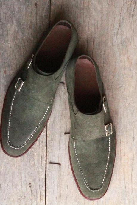 New Handmade Men's Gray Suede Double Monk Strap Shoes, Men Designer Dress Formal Shoes
